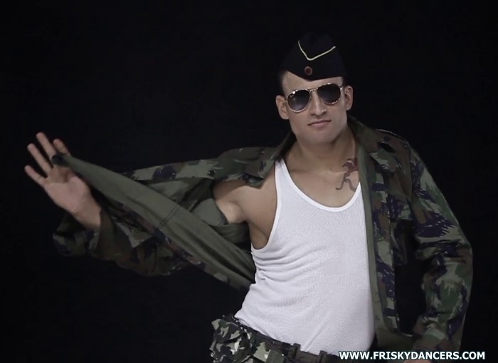 muscle go-go dancer in army uniform