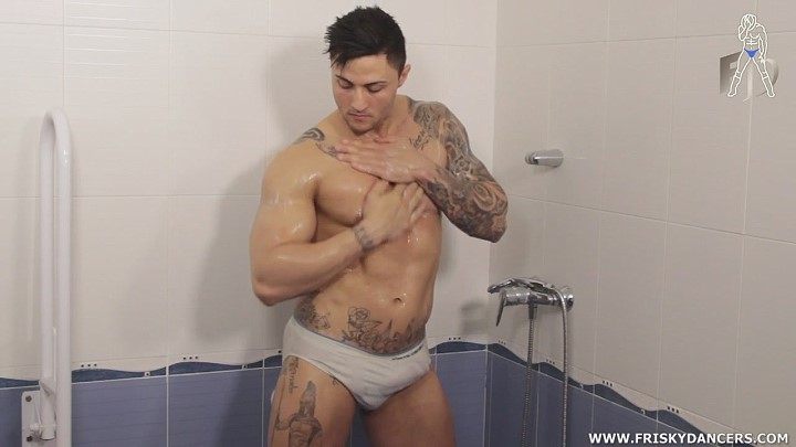 muscle man showering